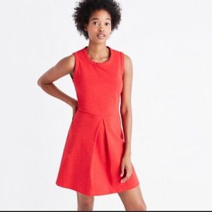 Madewell Red Stretch Sleeveless Pleated Dress